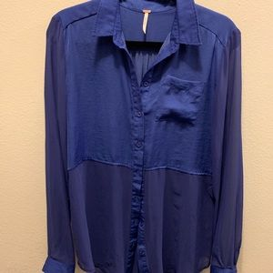 Free People Sheer Blue Blouse